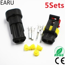 5 sets Kit 2 pin 1/2/3/4/5/6 pins Way AMP Super Seal Sealing Waterproof Electrical Wire Cable Connector Plug for Car Auto