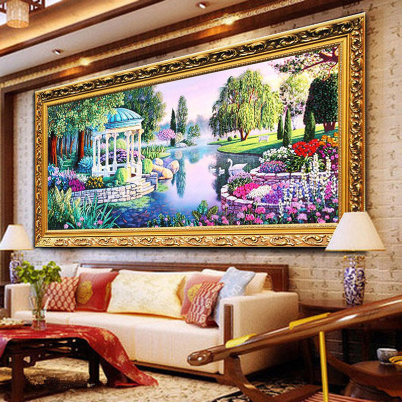 New arrival needlework 3d cross stitch kit Unfinished Ribbon embroidery painting Glass lakeside scenery dream wonderland New arrival needlework 3d cross stitch kit Unfinished Ribbon embroidery painting Glass lakeside scenery dream wonderland