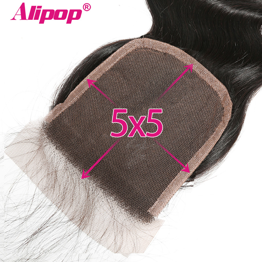 5x5 Lace Closure Brazilian Hair Body Wave Closure With Baby Hair ALIPOP Remy Human Hair Free Middle 2 Three 3 Part Closure