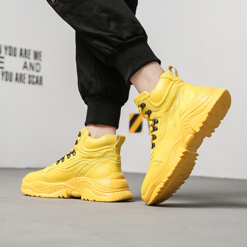 CuddlyIIPanda 2019 الرجال الأزياء أحذية رياضية الربيع الخريف الذكور حذاء كاجوال جديد وصول أبي أحذية عالية أعلى سميكة وحيد أحذية مشي-في أحذية رجالية غير رسمية من أحذية على  مجموعة 1