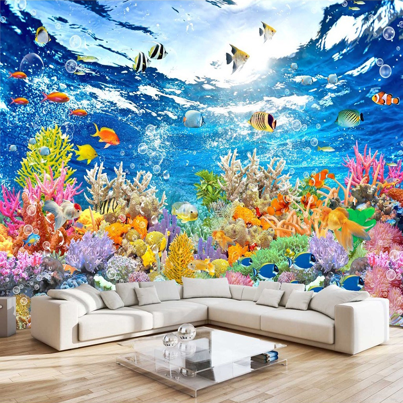 Photo Walpaper LHD Underwater World 3D Mural Wallpaper Living Room Kid's Bedroom Backdrop Wall Painting Frescoes Papel De Parede