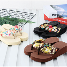 Women's Beach Sandals New Slope heel Thick-soled Beach Shoes Portable Anti-skid and Wear-resistant Printed Flip-flops