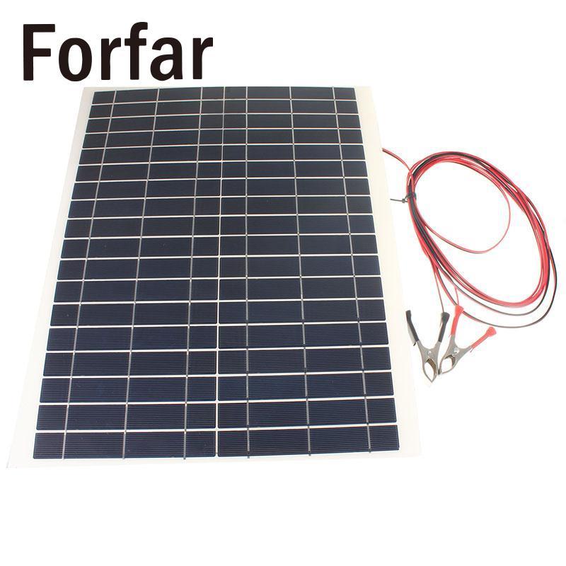 Forfar 20W 12V PolyCrystalline Epoxy Cells Solar Panel DIY Solar Module Battery Power Charge