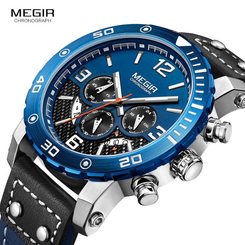 Horloges Heren MEGIR Heren Chronograaf Quartz Horloges Echt leer - Herenhorloges