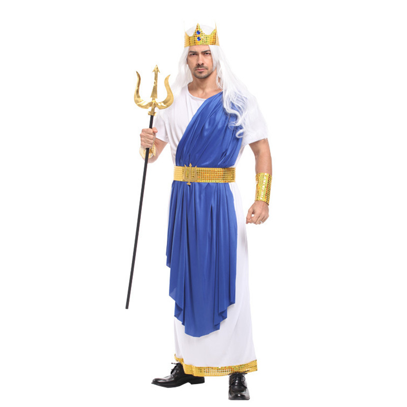 Men Greek mythology Neptune Poseidon Cosplay Halloween The king of all gods Zeus costume Carnival Masquerade Stage play dress