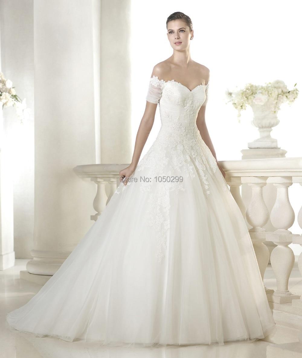 Princess Style Ball Gown Vneck Top Lace Ruched Short Sleeve Vestido Renda Off Shoulder Cinderella Wedding Dress: Wedding Dress Sleeves Princess Styles At Reisefeber.org