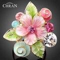 De alta Calidad de Cristal Austriaco 18 K Chapado En Oro AAA Circón Joyería de Moda Promoción Esmalte Flor Rosa Anillos de Boda Para Las Mujeres