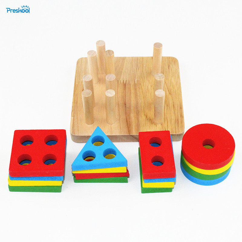 Montessori Kids Toy Baby Wood Geometry Intelligence Board