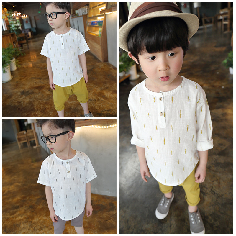 2018 spring new boy Japanese style small fresh long-sleeved shirt + pants cotton and linen  comfortable two-piece baby clothes new hot sale 2016 korean style boy autumn and spring baby boy short sleeve t shirt children fashion tees t shirt ages