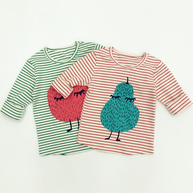 Amendoim Preax Crianças 2016 Primavera Padrão Crianças Dos Desenhos Animados Cotton T Camisa KIKIKIDS Bebê Encabeça Menina Roupa Do Bebê Roupas Menino