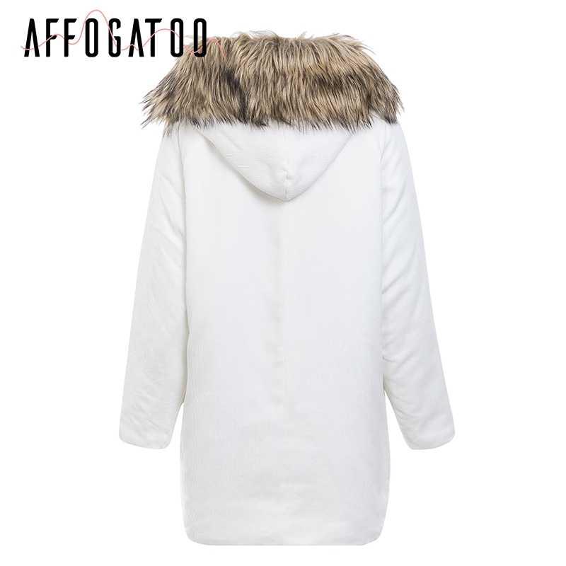 Affogatoo Faux fur hooded corduroy jas jas vrouwen Warme dikke gewatteerde parka winter jas 2018 Streetwear pocket overjas vrouwelijke