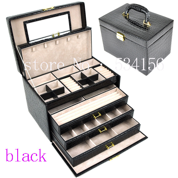 цена на luxurious big 4 layers black leather jewelry box earrings jewelry display box wedding gifts gift box jewelry organizer