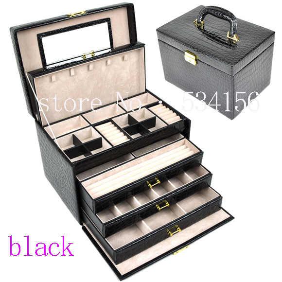 73c44fc10 luxurious big 4 layers black leather jewelry box earrings jewelry display  box wedding gifts gift box