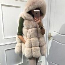 Luxury natural genuine fur female vest , 100% real fox fur women's winter coat with hood ,warm fur outerwear gilet