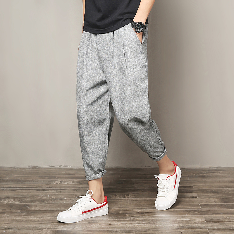Cotton Linen Joggers Black Men's Harem Pants