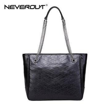 NEVEROUT Real Genuine Leather Casual Handbags for Women Bag Large Shoulder Bag Ladies Top-Handle Bags Shopping Handbag Totes