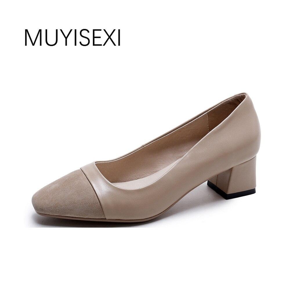 Full Genuine Leather Women Shoes High Heel 4.5cm Women Pumps Office Ladies Shoes Women Apricot Black AM03 MUYISEXI meifeier 407 women s fashionable knitted chiffon blouse apricot l