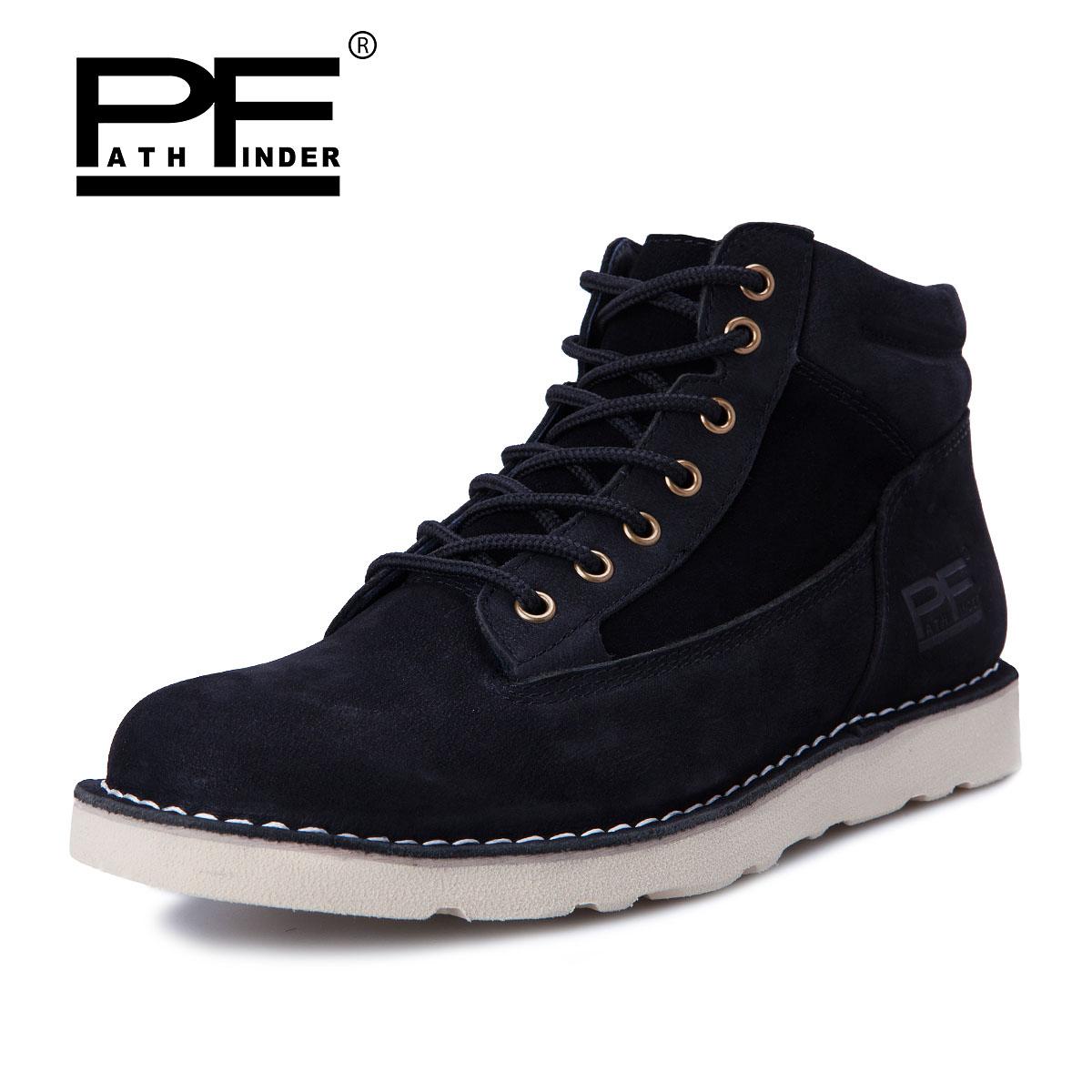 Pathfinder Men Ankle Botas Genuine Leather Warm Winter Botas Men Brand Casual font b Cowboy b