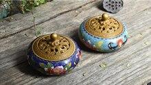 цена на Color Enamels Craft Antique Copper Brass Incense Burner Buddhist Incense Holder Smell Removing Metal Censer Home Fragrance