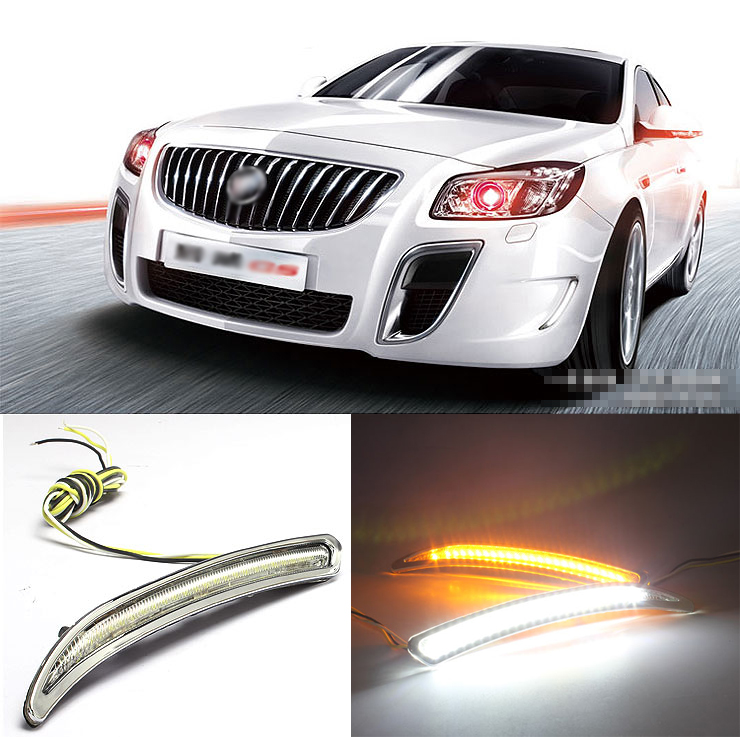 Ownsun Brand New Updated LED Daytime Running Lights DRL Yellow Turn Signal For Buick Regal GS цена и фото