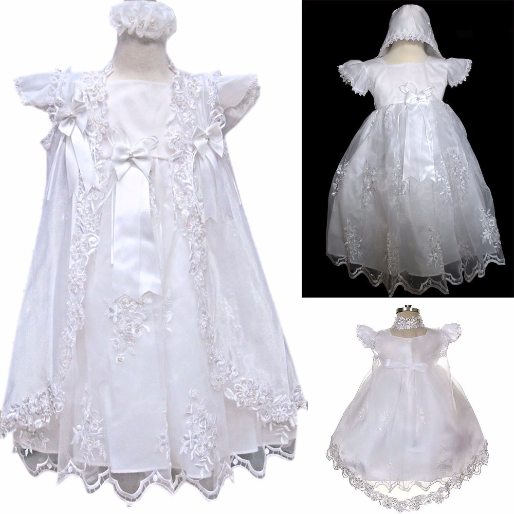 New High Quality Baptism Baby Infant Christening Gowns Lace Princess First Communion Dresses WITH BONNET 0-24month white ivory lace infant baptism baby girl christening gowns long dress princess first communion dresses with bonnet