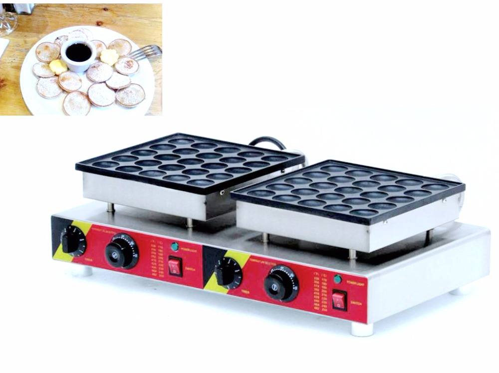 EU/AU/UK/US Multifunctional 110V 220V 50pcs Non stick Commercial Electric Poffertjes Grill Dutch Waffle Maker Pancake Machine