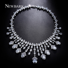 NEWBARK Luxury Wedding Necklaces For Brides AAA CZ Chandelier Pendants Bridal Accessories Statement Necklace Women Party Jewelry