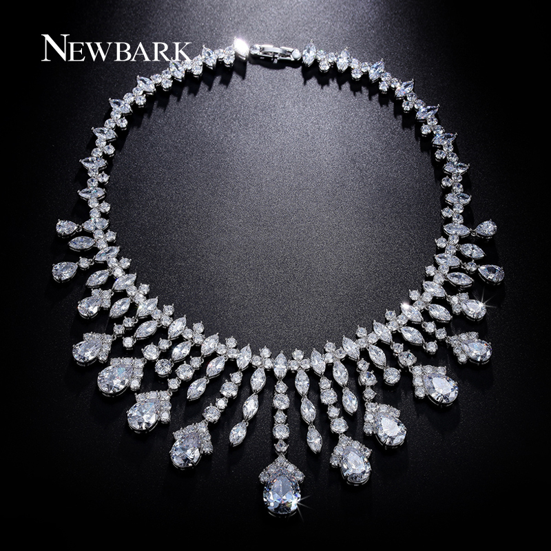NEWBARK Silver Color Choker Necklaces Luxury Statement Crystal Rhinestone Bridal Jewelry American European Sets Accessories newbark silver color cubic zircon bridal jewelry necklace leaf shape rhinestone choker necklaces for women wedding