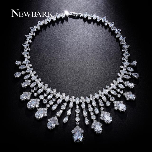 Newbark lujo noble colgante borlas de cristal declaración gargantillas de novia para novias banquete de alto nivel aaa cz araña