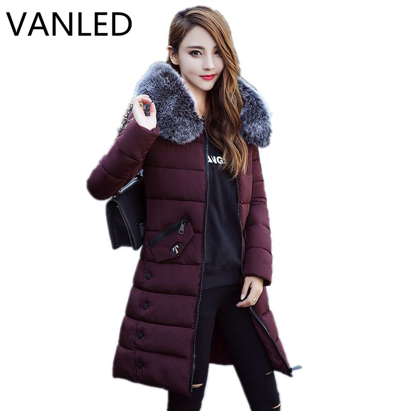 2017 Women Jacket  fur collar cotton coat winter coat thick  long section Jacket 2017 new winter women winter women in the long section of thick cotton coat fur collar jacket cold winter jacket size m xxl