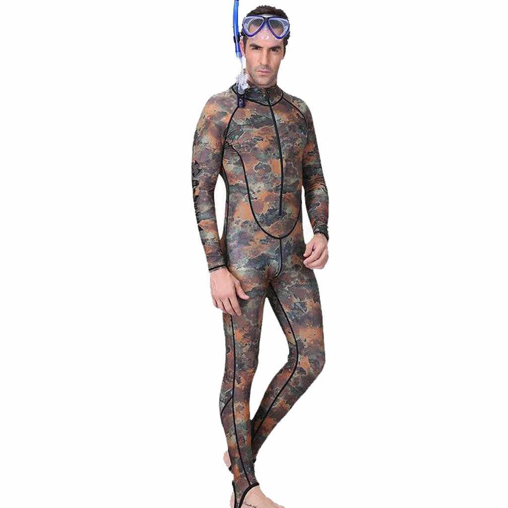 بدلة سباحة مموهة للرجال من Perimedes بدلة غوص ملابس مطبوعة للرجال بدلة سباحة مع سحّاب أمامي لصيد الأسماك بسوستة # g45