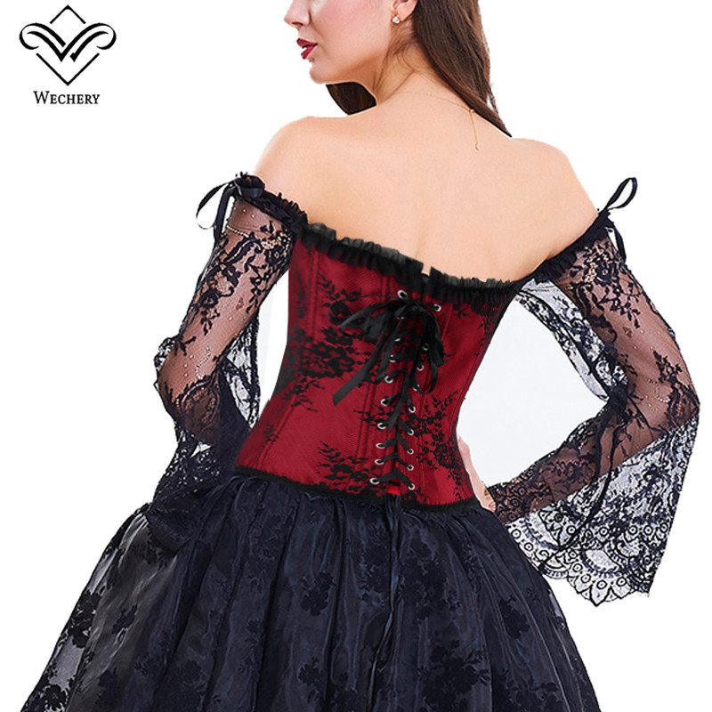 Image 4 - Wechery Women Steampunk Corset Sexy Long Sleeve Lace Corselet Lace Up Bustiers Korset For Posture Party Club Wedding Plus Size-in Bustiers & Corsets from Underwear & Sleepwears on AliExpress