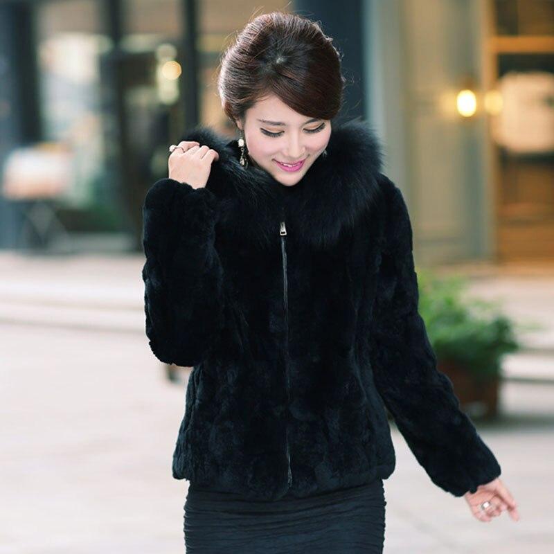 Кутюр лиса меховой воротник мех кролика пальто с капюшоном для Для женщин Повседневное плюс Размеры 5XL зимние куртки болеро из искусственно...