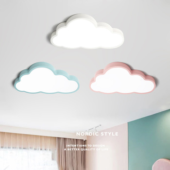 Modern Nordic Cartoon Cloud Style Blue / Pink / White LED Iron Ceiling Light with Acrylic Cover Lampshade for Living Room Kid's