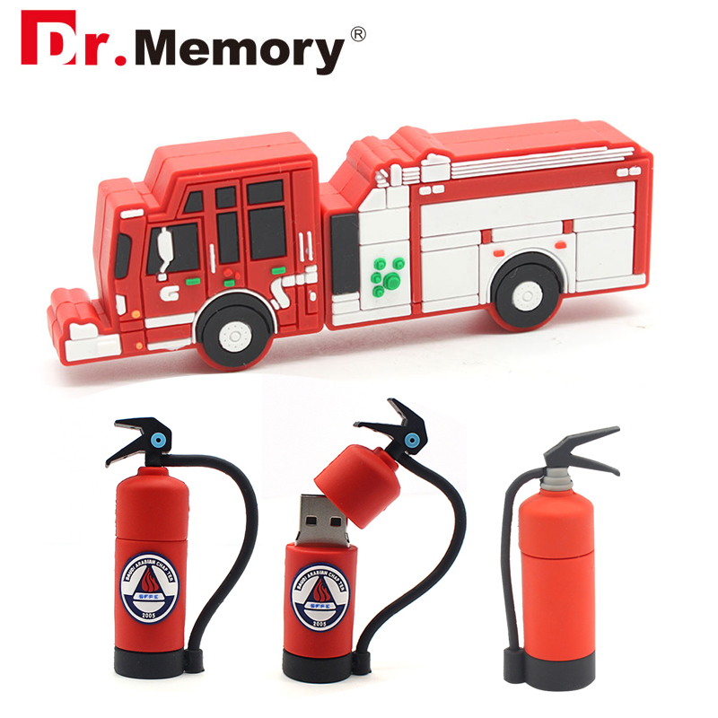 Pen Drive USB Flash Drives 8GB Fireman Extinguisher Fire Engine Pendrives 32GB Personalized 4GB 16GB Memory Stick USB Disk Gifts-in USB Flash Drives from Computer & Office