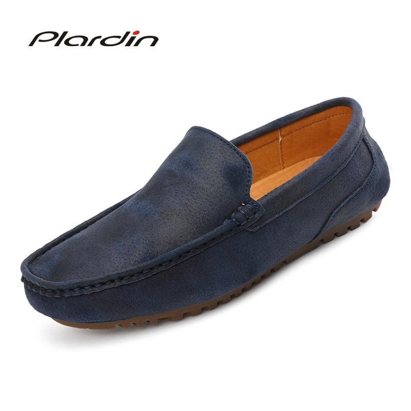 Plardin 2017 Four seasons Fashion Round Toe Split Leather loafers Slip On soft Comfortable Dress Casual