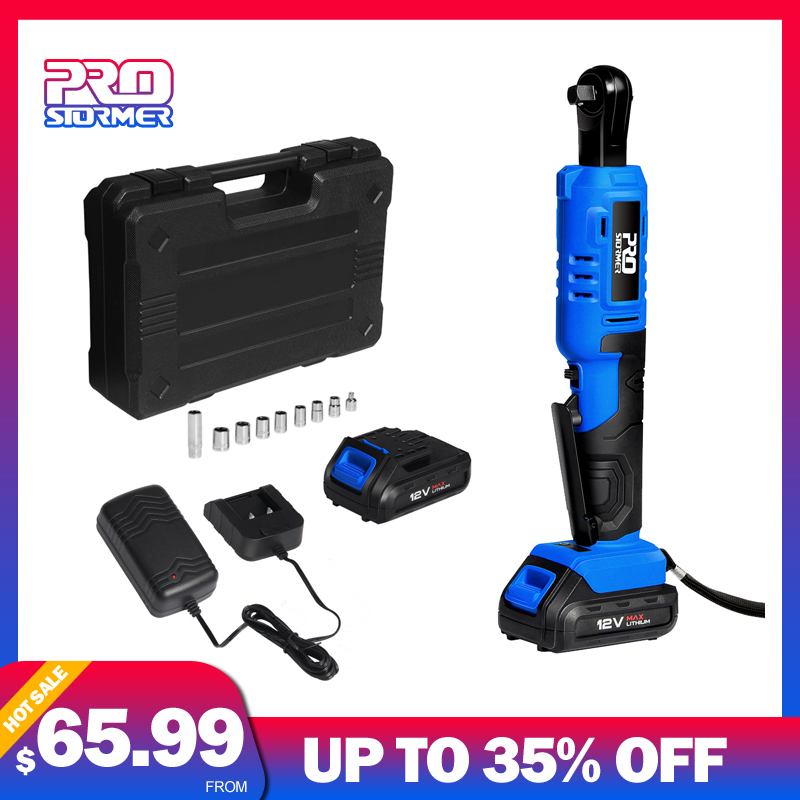 PROSTORMER Electric Ratchet Wrench 12V 45NM Torque 3 8 inch Cordless Battery Wrench 2000mAh 9 Sockets