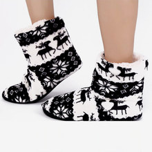 KHTAA Winter Ankle Boots Women Warm Christmas Elk Indoor Fur Plush Cotton Socks Shoes Ladies 2018 New Home Female Flat Footwear(China)
