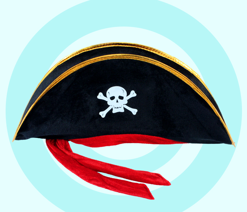 Halloween Decoration Red Rope Pirate Hat Holiday Prop Hat COS Props