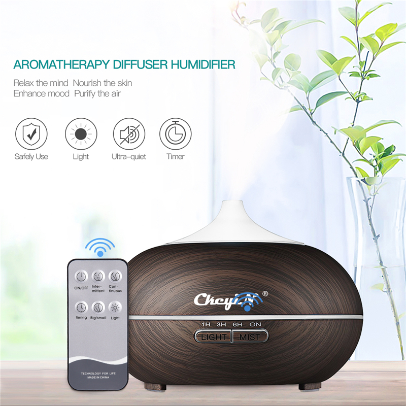 CkeyiN 550ml Electric Ultrasonic Humidifier Wooden Air Purifier LED Lights Essential Oil Aroma Diffuser with Remote Control