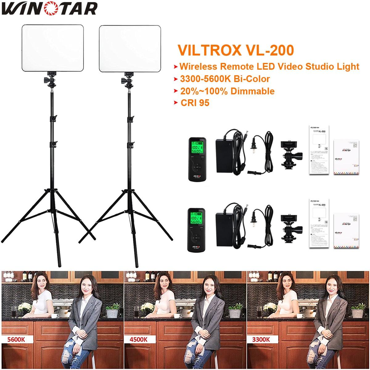 купить 2x VILTROX VL-200 Ultra Thin Dimmable Bi-color LED Video Light Kit / 3300K-5600K CRI 95 + 2x Light Stand + 2x AC adapter онлайн