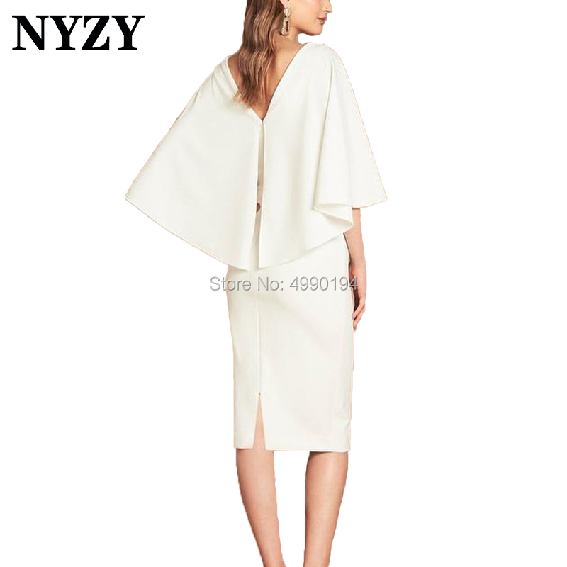Vestido Robe   Cocktail     Dresses   NYZY C197 V Neck Cape Sleeves Jersey Formal   Dress   Party Prom Homecoming 2019