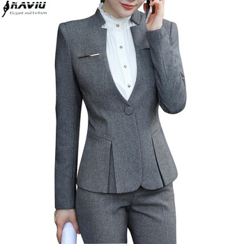 2017 new fashion women pants suits slim work wear office ladies long sleeve blazer pants set costumes for women with pants