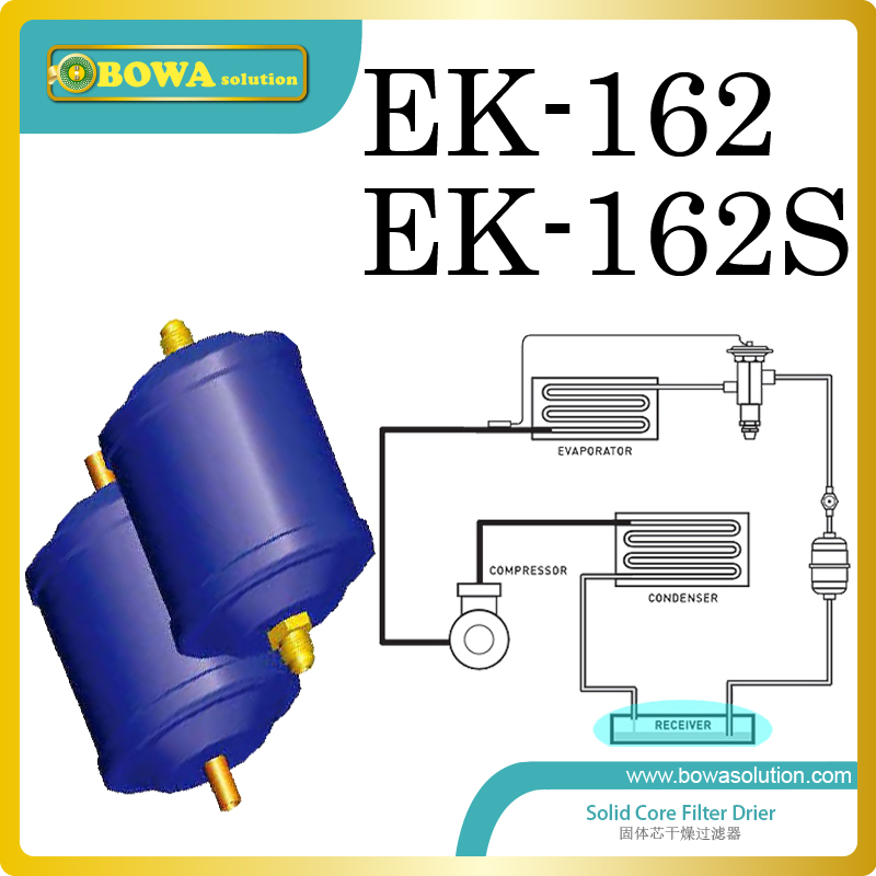 EK162 refrigerant filter driers are installed in beer chiller working as liquid refrigerant line parts replace Honeywell filter 052 hermetic filter driers are optimised for hfc refrigerants and mineral or benzene oils r replace danfoss dml filter drier