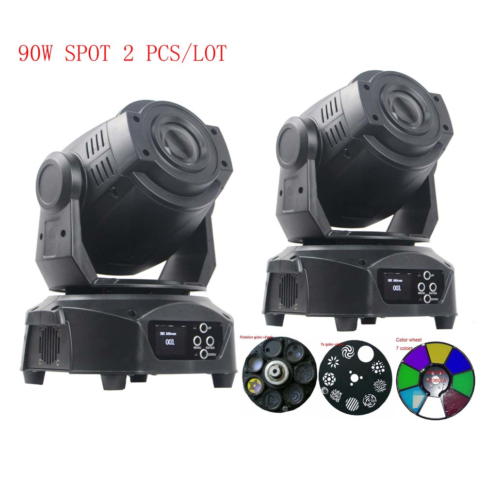 2pcs per lot DMX 512 control dj light 90W LED mivong head stage lighting with one color wheel and two gobo wheels dj control