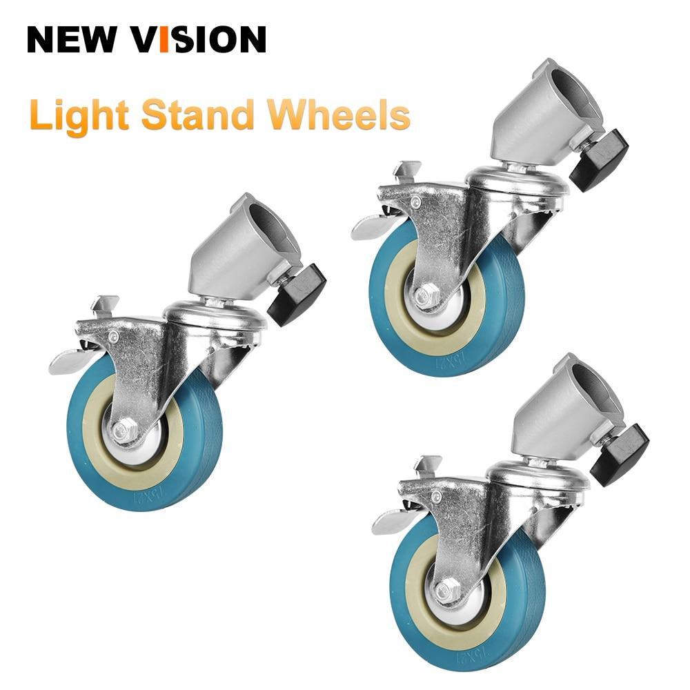22cm Studio PRO Professional Swivel Caster Wheel Set Of 3 For Light Stands