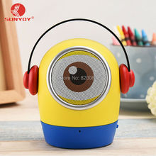 ФОТО cute mini minions portable handsfree wireless bluetooth speakers with mic support tf card aux-in for all smart phones