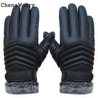 ChenaWolry 2016 1PC 100 Brand New Fashion Accessories Anti Slip Men Thermal Winter Sports Leather Touch