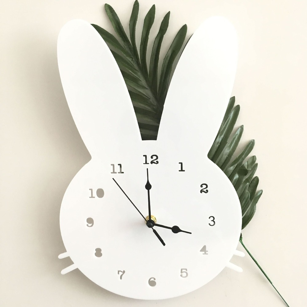 Nordic Wooden Rabbit Shaped Wall Clock Kids Room Decor Gender Neutral Nursery Baby Shower Gift Home Decoration