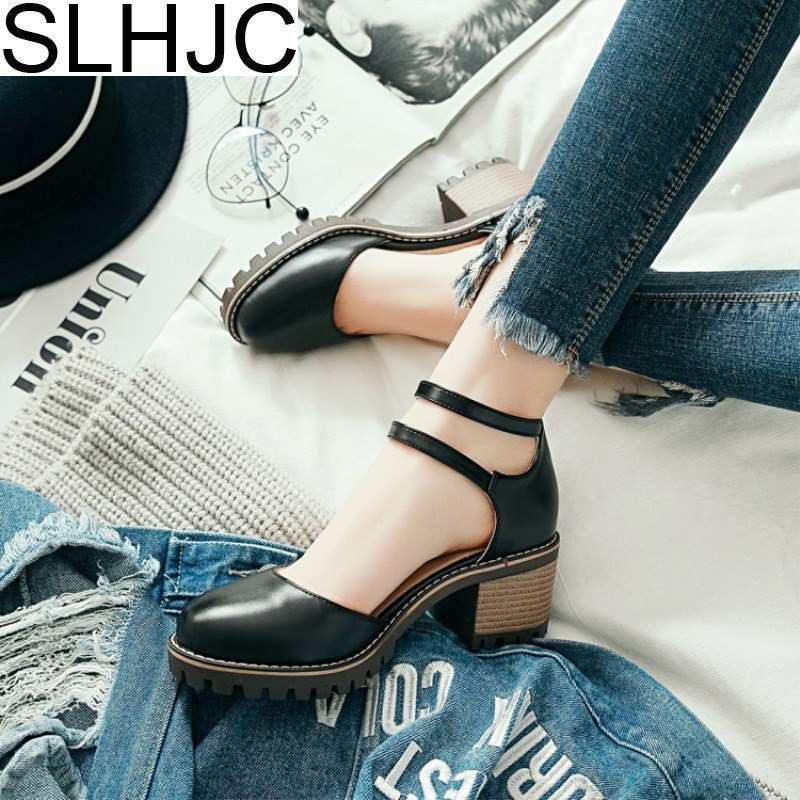 SLHJC Summer Pumps Sandals Women High Heels Leather 6 CM Heel Round Toe Double Buckle Spring Shoes Low Platform Pumps nayiduyun women genuine leather wedge high heel pumps platform creepers round toe slip on casual shoes boots wedge sneakers